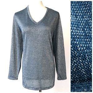 Faded Glory Long Sleeve Sparkly V-Neck Sweater